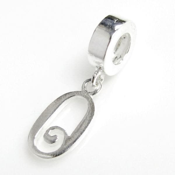 Queenberry Sterling Silver Initial Letter Alphabet 'O' Dangle European Bead Charm