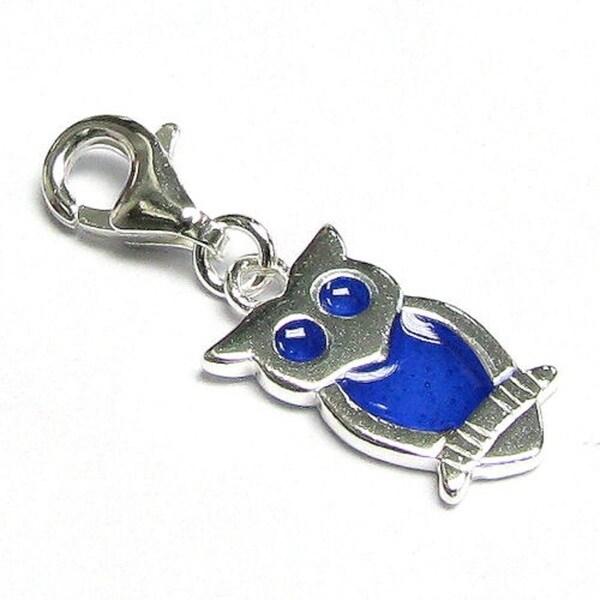 Queenberry Sterling Silver Blue Enamel Owl Bird Dangle European Bead Charm