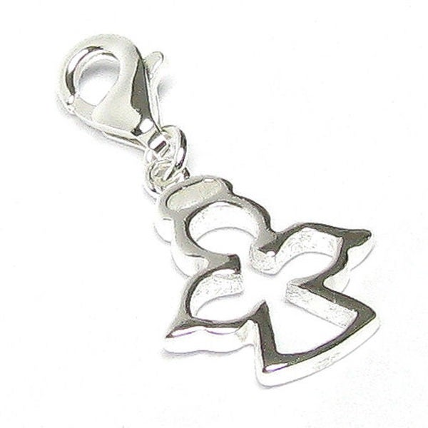 Queenberry Sterling Silver Little Angel Dangle Pendant European Bead Charm