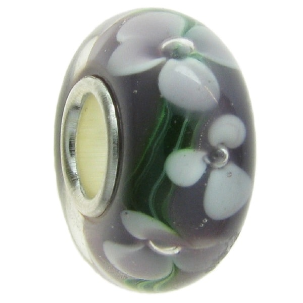 Queenberry Sterling Silver Amethyst Murano FLOWER Glass European Bead Charm