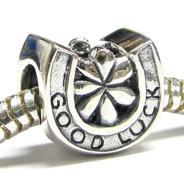 Queenberry Sterling Silver Good Luck Horseshoe Flower European Bead Charm