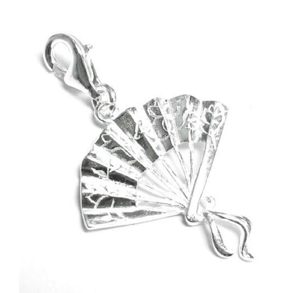 Queenberry Sterling Silver Chinese Oriental Fan Pendant European Bead Charm