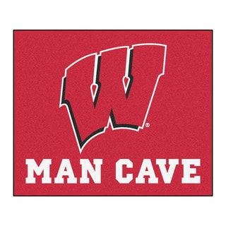 Fanmats Machine-Made University of Wisconsin Red Nylon Man Cave Tailgater Mat (5' x 6')