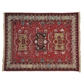 Caucasian Soumak Flat Weave Oriental Rug Hand Woven (8' x 10')