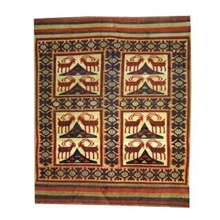Herat Oriental Afghan Hand-woven Tribal Soumak Kilim Beige/ Red Wool Rug (6'8 x 8'1)