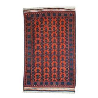 Herat Oriental Afghan Hand-woven Tribal Soumak Kilim Rust/ Navy Wool Rug (5'7 x 9'1)