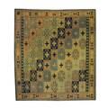 Herat Oriental Afghan Hand-woven Tribal Soumak Kilim Brown/ Beige Wool Rug (6'8 x 7'5)