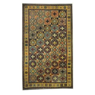 Herat Oriental Afghan Hand-woven Tribal Soumak Kilim Beige/ Gold Wool Rug (5'3 x 8'9)