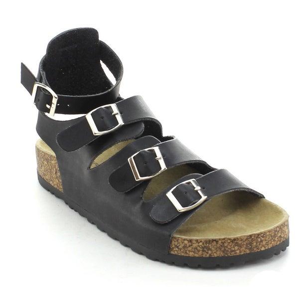 Nature Breeze Women's Melbourne-12 Multi-strap Platform Sandals