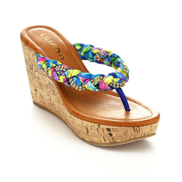 Liliana Women's Genoa-6 Thong Weave Sandals
