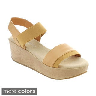 Nature Breeze Women's Zara-01 Comfort Elastic Band Wedges