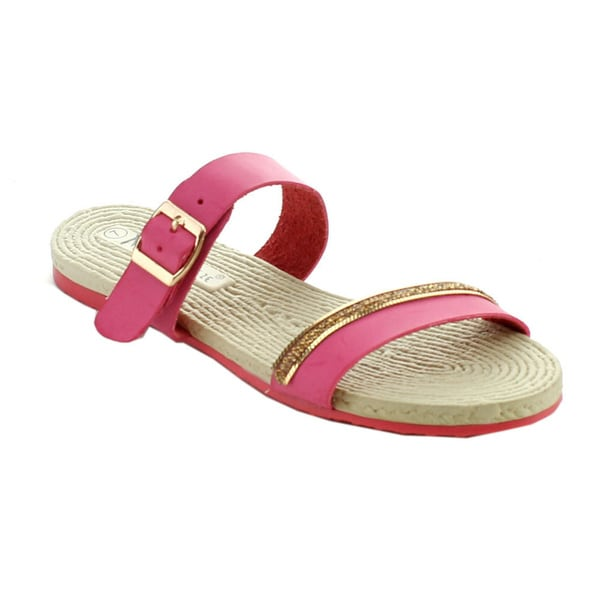 Nature Breeze Women's Amelia-02 Metal Chain Double Strap Espadrille Sandals