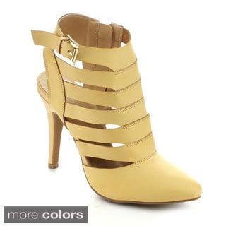 Nature Breeze Women's Hugo-01 Pointed-toe Side Zipper Slingback Heels