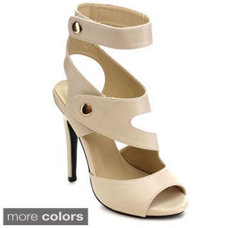 Machi Women JD-Hanona Asymmetrical Strap Peep-toe Heels