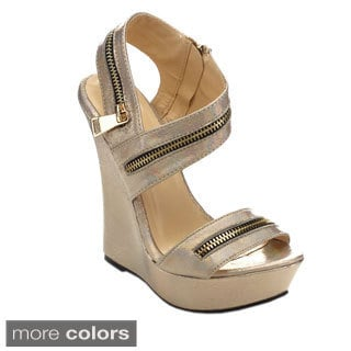 Machi Women's JD-DITRI Peep-toe Side Zipper High-heel Platform Wedges