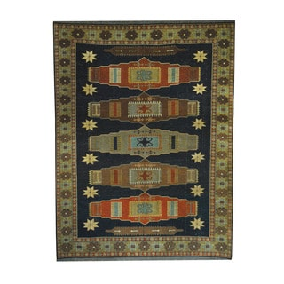Herat Oriental Afghan Hand-woven Tribal Soumak Kilim Navy/ Gold Wool Rug (5'9 x 7'7)