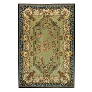 Herat Oriental Sino Hand-woven Aubusson Light Green/ Light Blue Wool Rug (5'10 x 8'10)