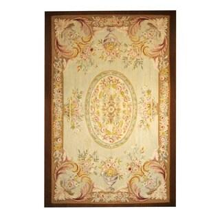 Herat Oriental Sino Hand-woven Aubusson Beige/ Brown Wool Rug (6'1 x 9'2)