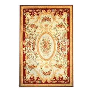 Herat Oriental Sino Hand-woven Aubusson Ivory/ Red Wool Rug (5'11 x 9'1)