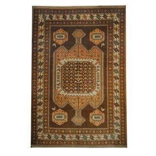 Herat Oriental Afghan Hand-knotted Tribal Kazak Brown/ Beige Wool Rug (6'5 x 9'8)