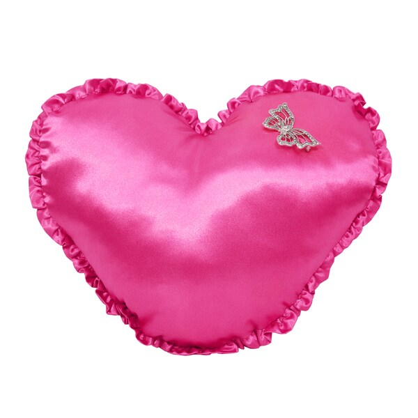 Damsel in Damask Satin Heart Toss Pillow with Ruffled Edge