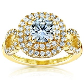 Annello 14k Yellow Gold Round-cut Moissanite and 1/2ct TDW Halo Diamond Ring (G-H, I1-I2)