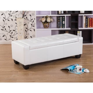 Warehouse of Tiffany Mackenzie White 52-inch Storage Ottoman