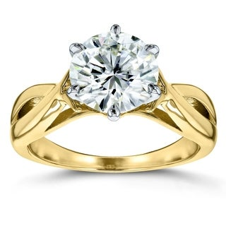 Annello 14k Yellow Gold 1 3/5ct CTW Six-Prong Round Moissanite Solitaire Engagement Ring