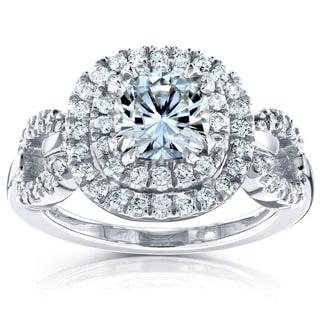 Annello 14k White Gold Round-cut Moissanite and 1/2ct TDW Halo Diamond Ring (G-H, I1-I2)