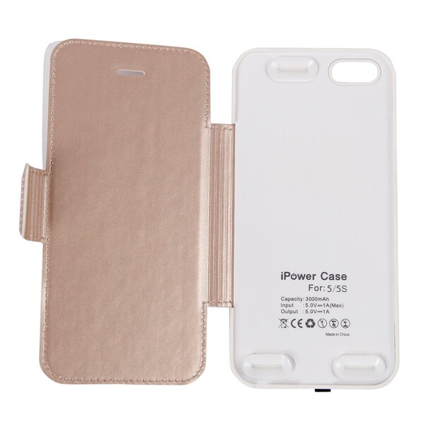 Gold/ Silver 3000Mah Battery Bank Protective Fashion Flip Case for iPhone 5