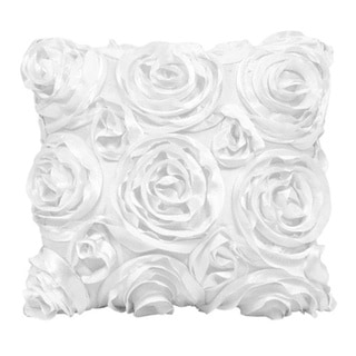 Wake Up Frankie Damsel in Damask White Roses Accent Pillow