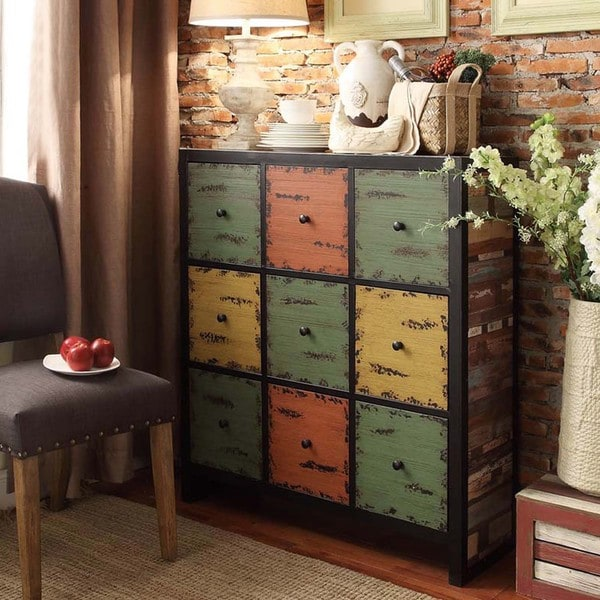 Soho Rustic Antique Multicolor 9-drawer Cabinet Storage Cupboard