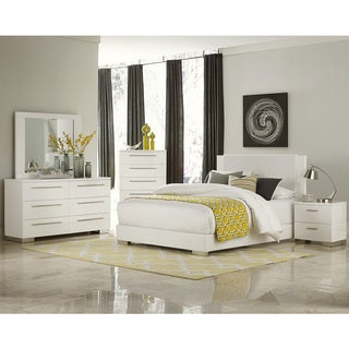 Leena White Faux Leather Chrome High Gloss 5-piece Bedroom Set