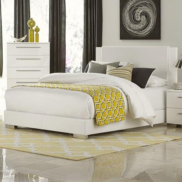 Leena White Faux Leather Chrome High Gloss Bed