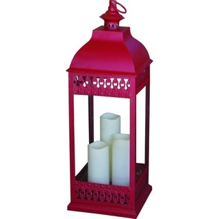 Smart Solar San Nicola Triple LED Candle Lantern-Red