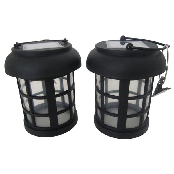 "Smart Solar 3782WRM2 4.5"" Black Umbrella Hanging Solar Lanterns (Set of 2)"