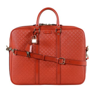 Gucci Diamante Red Leather Briefcase