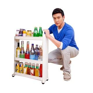 Three Shelf Movable Storage Rack