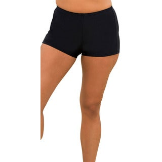 Women's Plus Size Black Boy-Shorts Bottoms