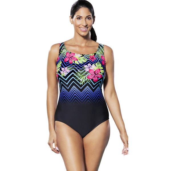 Aquabelle Costa Chevron Tank Swimsuit