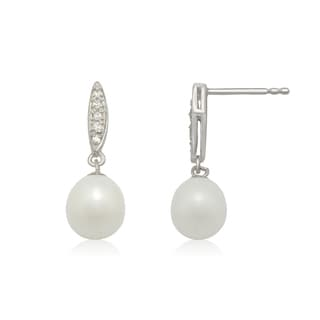 Gioelli Sterling Silver Freshwater Pearl Cubic Zirconia Pave Dangle Earrings (8-9 mm)