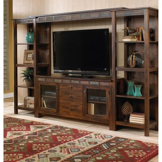 Sunny Designs Santa Fe TV Console with Game Drawer/ Wall Bridge and Wall Pier