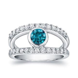 Auriya 14k White Gold 1ct TDW Blue and White Bezel Diamond Ring (H-I, SI1-SI2)