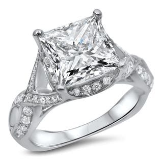 Noori Collection 18k White Gold 3 3/5ct TDW Enhanced Princess-cut Diamond Engagement Ring (G-H, SI1-SI2)