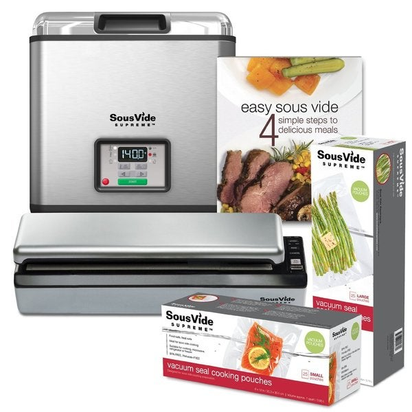 SousVide Supreme Water Oven 11-Liter System Complete with Vacuum Sealer, Cookbook and over 50 Sealer Bags (PSV-00183)