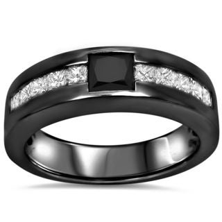 Noori 14k Black Rhodium-plated Gold Men's 1 1/4ct TDW Black and White Diamond Band (G-H, SI1-SI2)