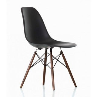 Contemporary Retro Molded Eames Style Black Accent Plastic Dining Shell Chair with Dark Walnut Wood Eiffel Legs
