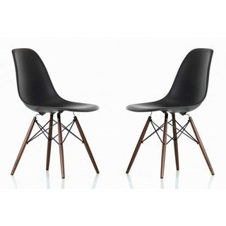 Contemporary Retro Molded Eames Style Black Accent Plastic Dining Shell Chair with Dark Walnut Wood Eiffel Legs (Set of 2)