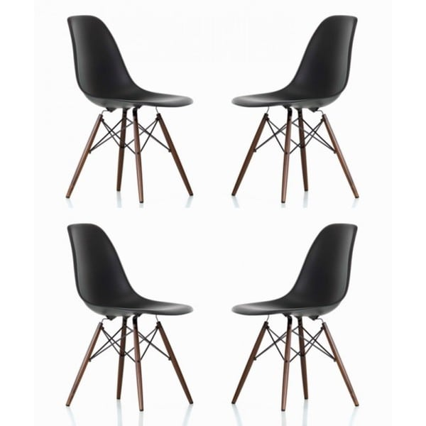 Contemporary Retro Molded Eames Style Black Accent Plastic Dining Shell Chair with Dark Walnut Wood Eiffel Legs (Set of 4)