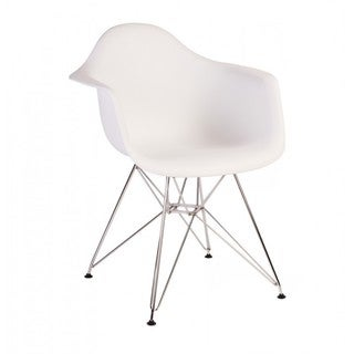 Contemporary Retro Molded Eames Style White Accent Plastic Dining Armchair with Steel Eiffel Legs